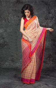 Ultimate Pink and Orange Color Linen Designer Digital Print Saree LN8078
