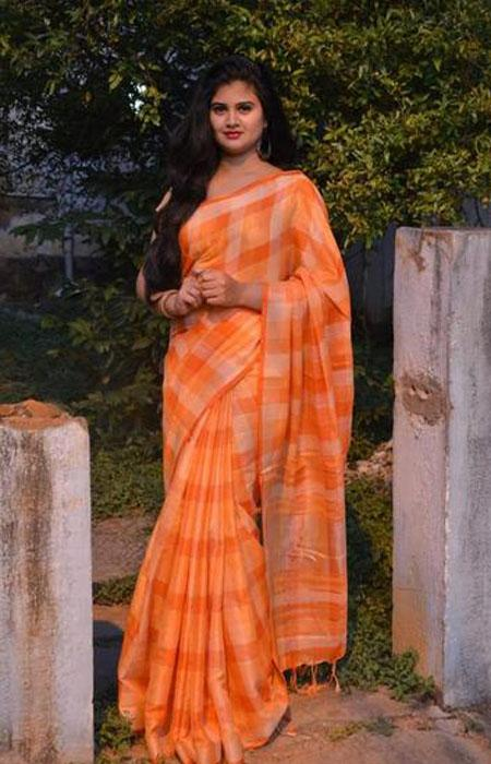 Stylish Orange Color Linen Designer Digital Print Saree LN8080