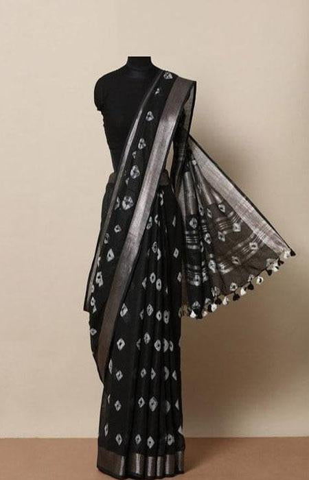 Vivacious Black Color Linen Designer Digital Print Saree LN8082