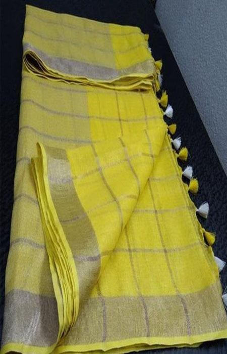 Pleasing Yellow Color Linen Designer Digital Print Saree LN8083
