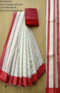 Sizzling Red and White Color Linen Designer Digital Print Saree LN8085