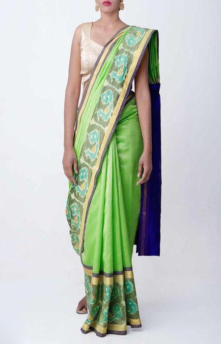 Buoyant Green Color Linen Designer Digital Print Saree LN8087