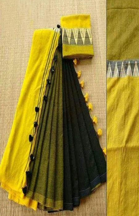 Contemporary Yellow and Black Color Linen Designer Digital Print Saree LN8088