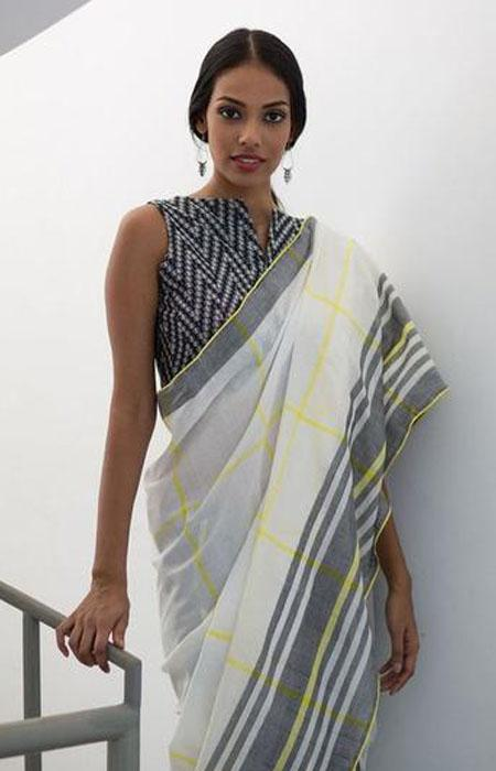 Fashionista White and Grey Color Linen Designer Digital Print Saree LN8091