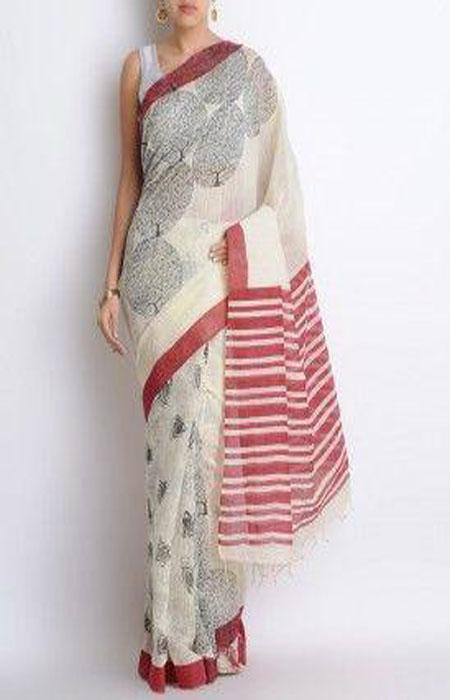 Good Looking White and Red Color Linen Designer Digital Print Saree LN8092