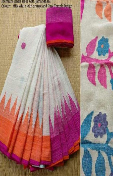 Beauteous Multi Color Linen Designer Digital Print Saree LN8105