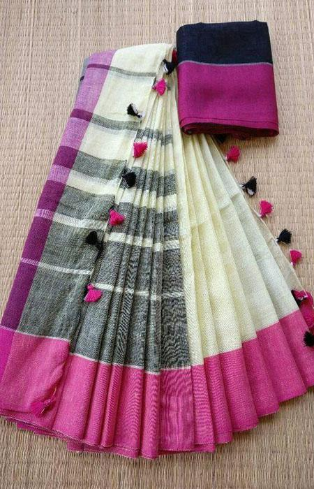 Amazing Multi Color Linen Designer Digital Print Saree LN8109