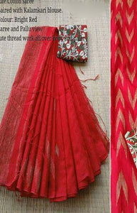 Simpatico Red Color Linen Designer Digital Print Saree LN8110