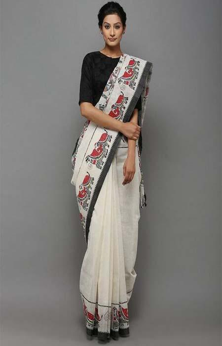 Delightful Black and White Color Linen Designer Digital Print Saree LN8111