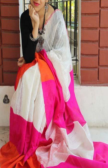 Rosy Pink Color Linen Designer Digital Print Saree LN8112