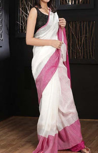Innovative White and Pink Color Linen Designer Digital Print Saree LN8114