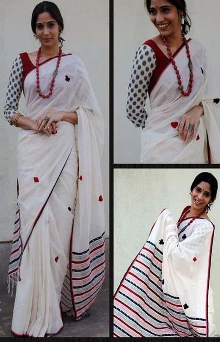 Divine White and Pink Color Linen Designer Digital Print Saree LN8116