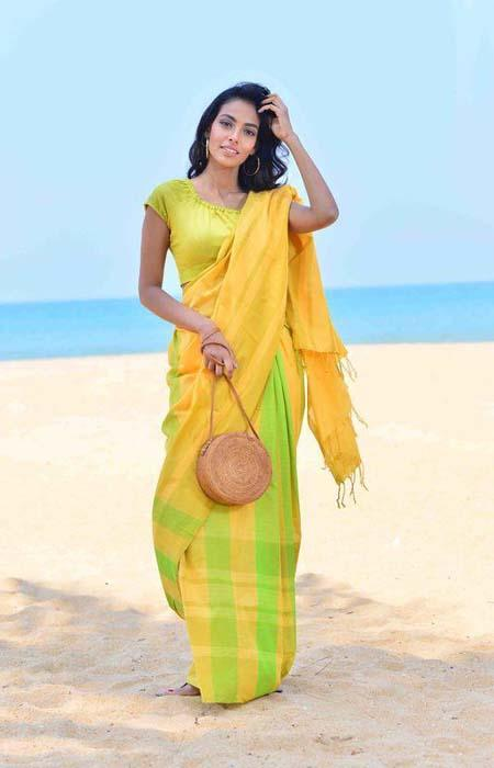 Fantastic Yellow and Green Color Linen Designer Digital Print Saree LN8119