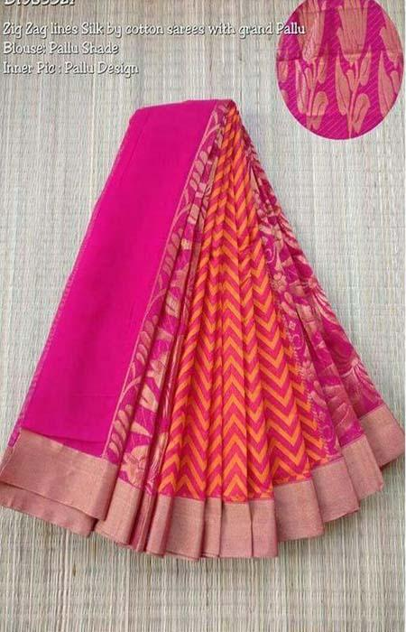 Majesty Pink and Orange Color Linen Designer Digital Print Saree LN8120