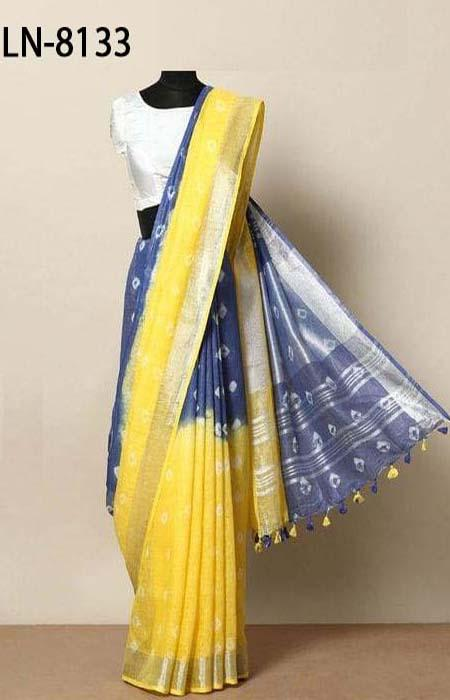 Blooming Yellow and Blue Color Linen Designer Digital Print Saree LN8133