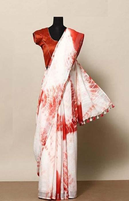 Alluring White and Red Color Linen Designer Digital Print Saree LN8032