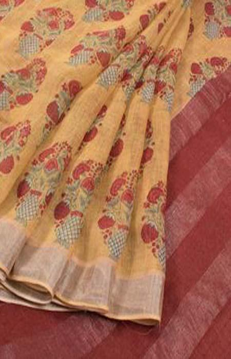 Pleasing Yellow Color Linen Designer Digital Print Saree LN8333