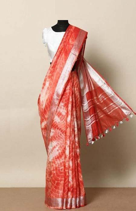Sizzling Red Color Linen Designer Digital Print Saree LN8335