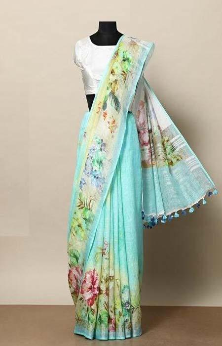Buoyant Blue Color Linen Designer Digital Print Saree LN8337
