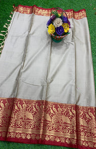 Beauteous Gray and Brown Color Designer Cotton Silk with Jacquard Border saree