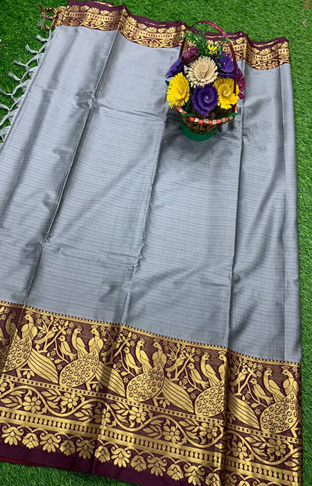 Captivating Gray and Gold Color Designer Cotton Silk with Jacquard Border saree