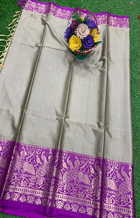 Dapper  Gray and Purple Color Designer Cotton Silk with Jacquard Border saree