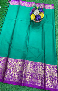 Glammrous lite Blue and Purple Color Designer Cotton Silk with Jacquard Border saree