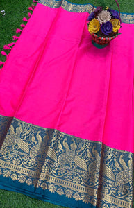 Heavenly Pink and Blue Color Designer Cotton Silk with Jacquard Border saree