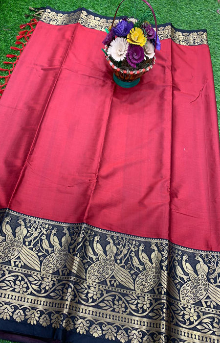 Elegance Red and Blue Color Designer Cotton Silk with Jacquard Border saree