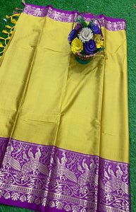 Ideal Yellow and Purple Color Designer Cotton Silk with Jacquard Border saree