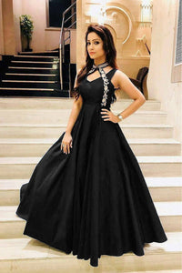Stylish Black Color Embroidered Neck Pettern Soft Tafeta Silk Gown