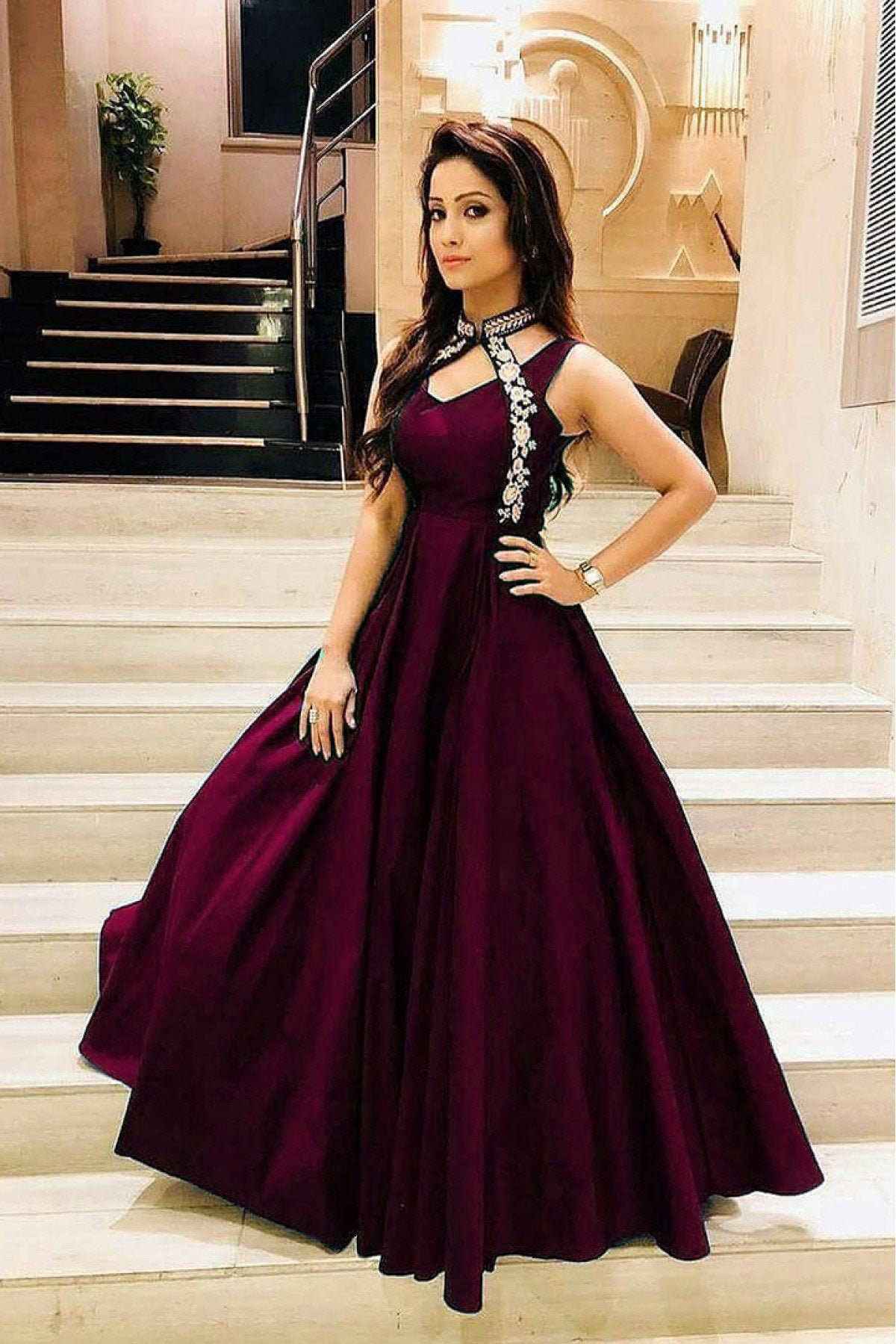 Stylish Light Maroon Color Embroidered Neck Pettern Soft Tafeta Silk Gown