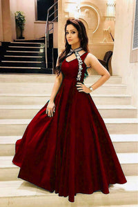 Stylish Maroon Color Embroidered Neck Pettern Soft Tafeta Silk Gown