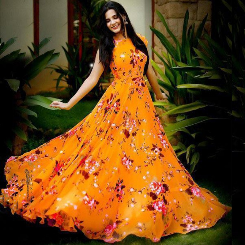 UNIQUE ORANGE COLOR FLORAL DIGITAL PRINT GOWN