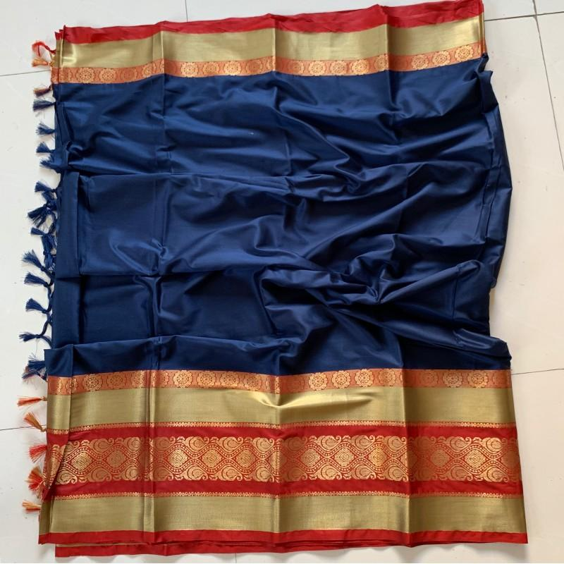 Beauteous Blue and Red Color Cotton Silk Saree Roshani-02