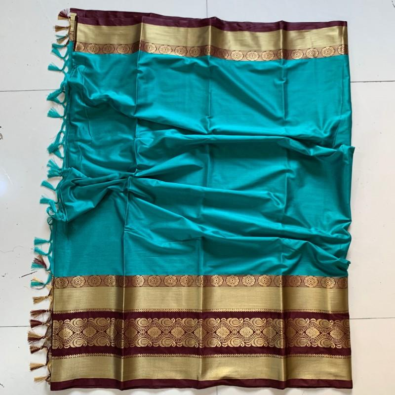 Captivating Blue and Brown Color Cotton Silk Saree Roshani-03
