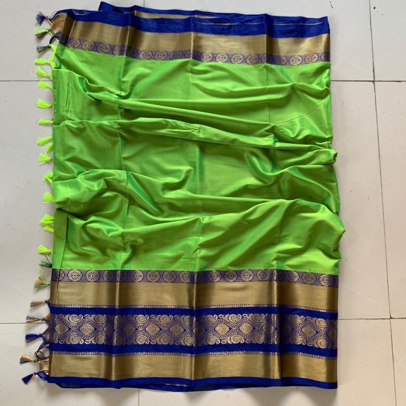 Dapper Green and Blue Color Cotton Silk Saree Roshani-04