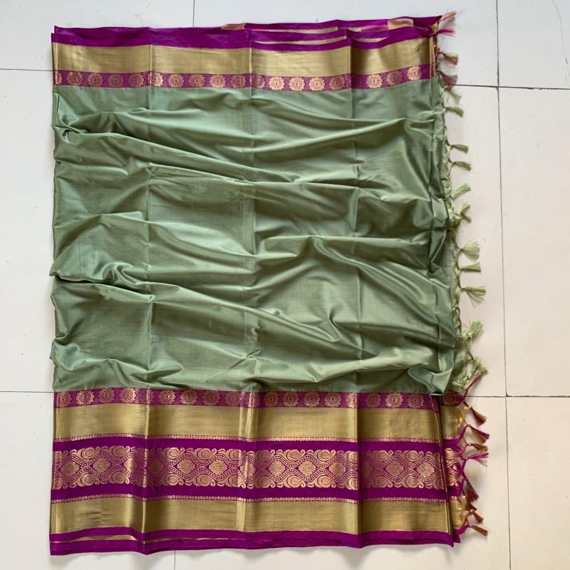 Elegance Key LimePie Color Cotton Silk Saree Roshani-05
