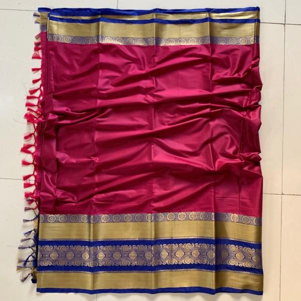 Heavenly Hot Pink and Gold Color Cotton Silk Saree Roshani-08