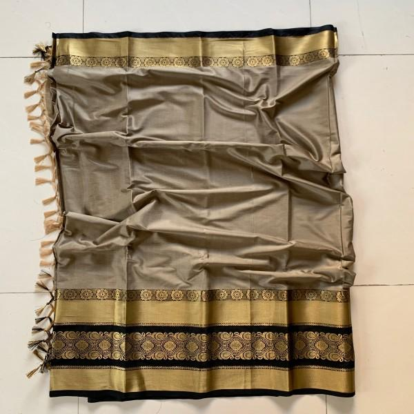 Ideal Peach and Gold Color Cotton Silk Saree Roshani-09