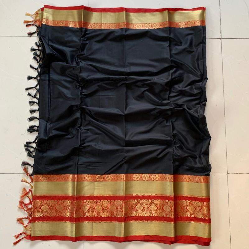 Jazzy Black and Red Color Cotton Silk Saree Roshani-10