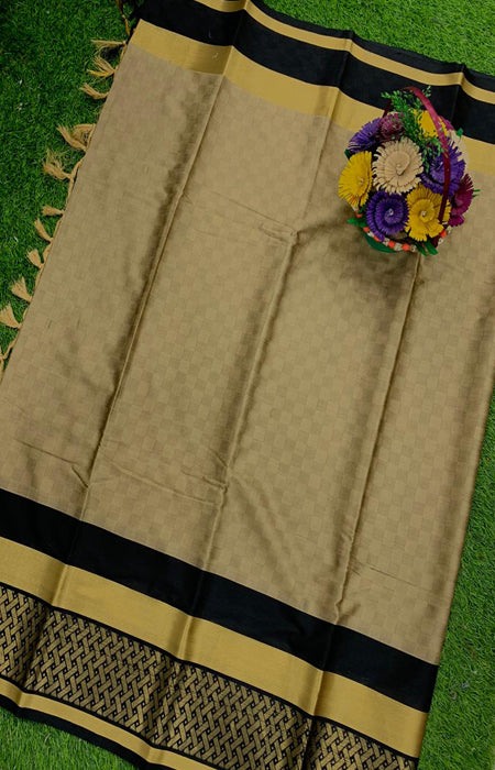 Fanciful Drack wheat Color Designer Cotton Silk with Jacquard Border saree