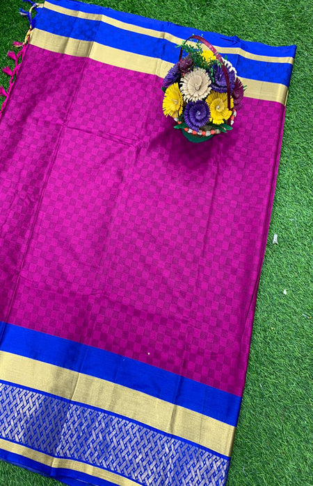Heavy Hot Pink Color Designer Cotton Silk with Jacquard Border saree
