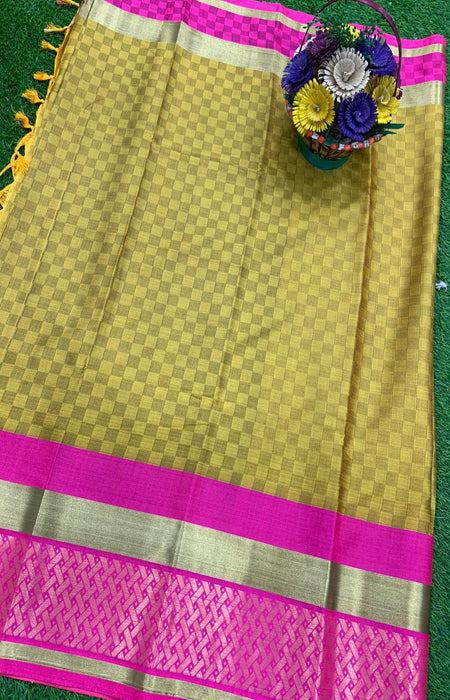Prominent Yellow and Pink Color Designer Cotton Silk with Jacquard Border saree