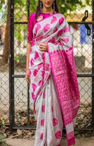 Heavenly Pink and Wight Color Designer Soft Silk Saree SC3008