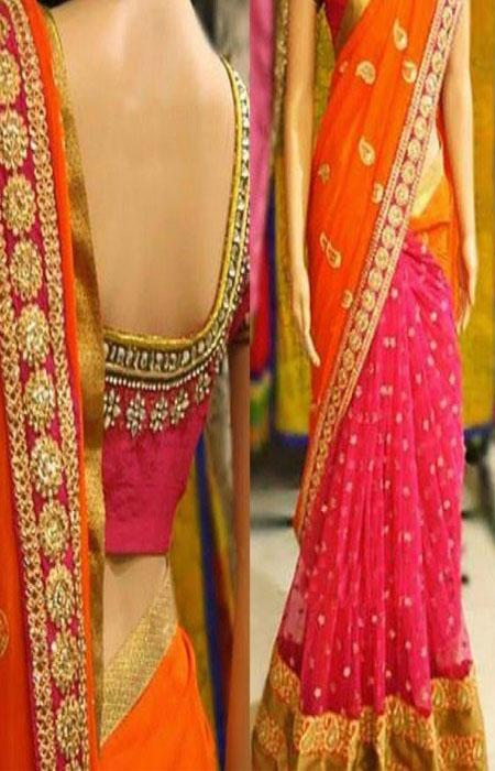 Blooming Pink And Orange Color Designer Soft Silk Saree SC3148