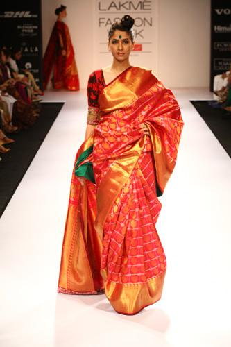 Fabulous Red and Orange Color Soft Silk Designer Sarees SC7026