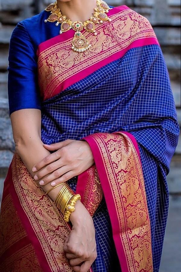 Fanciful Blue Color Soft Silk Designer Sarees SC7039