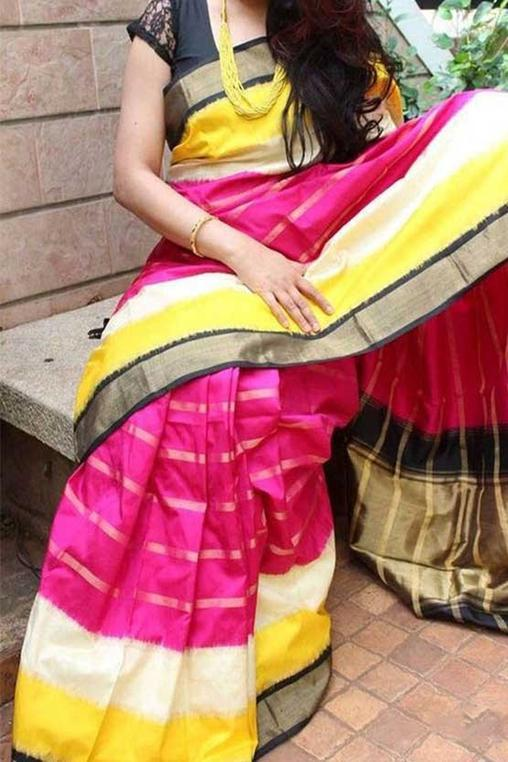 Eye Catching Pink and Yellow Color Soft Silk Designer Sarees SC7044
