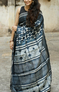 Captivating Black Color Designer soft Silk Saree SC-9110